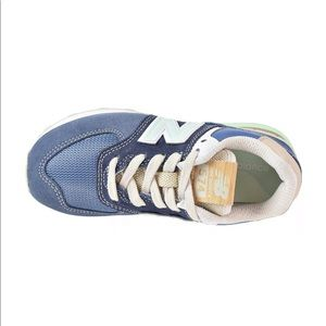 Youth boys New Balance core blue green sneakers